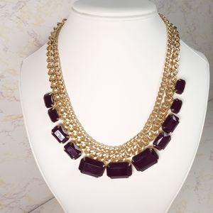Chunky Gold Maroon Stone Statement Necklace